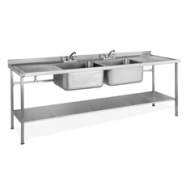 Double Bowl Double Drainer Sink complete with Stand